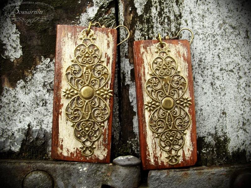 kolczyki drewno + metal