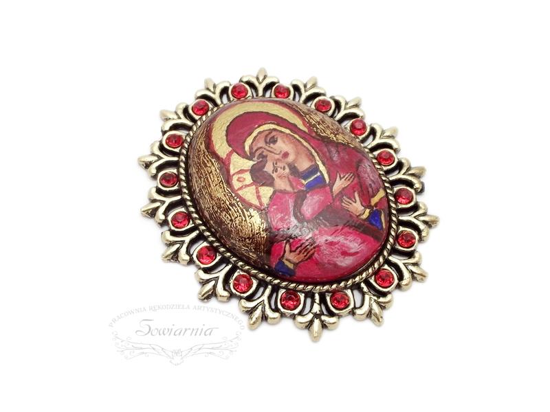 broszka ikona Maryja z Jezusem