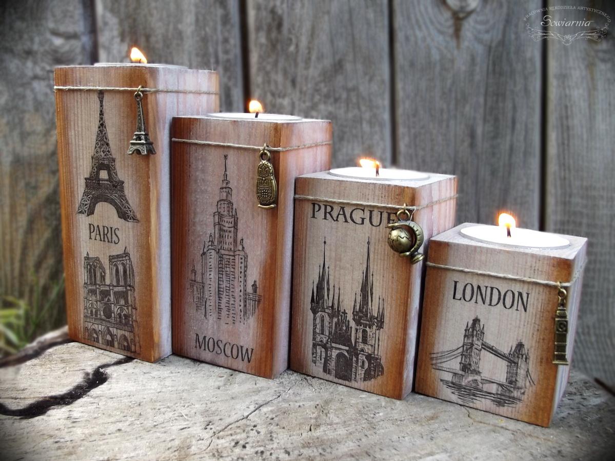 swieczniki z motywem europejskich stolic