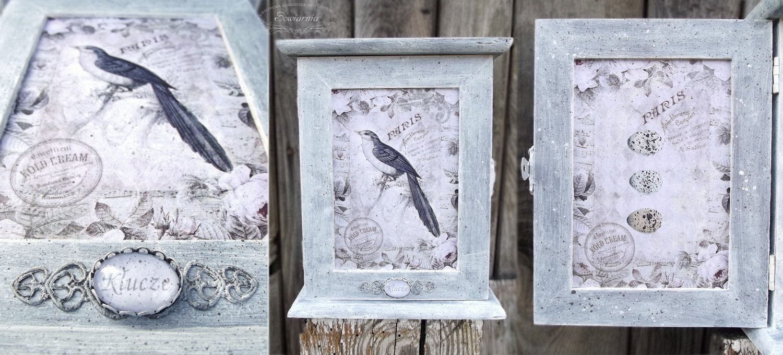 skrzynka na klucze z ptakiem
