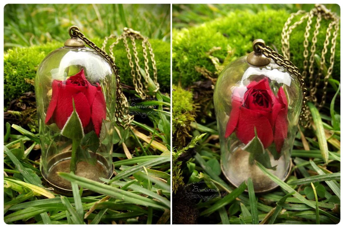 naszyjnik róża pod kloszem