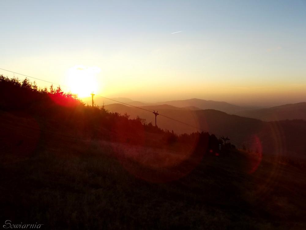 zachód słońca ze szczytu Skrzycznego