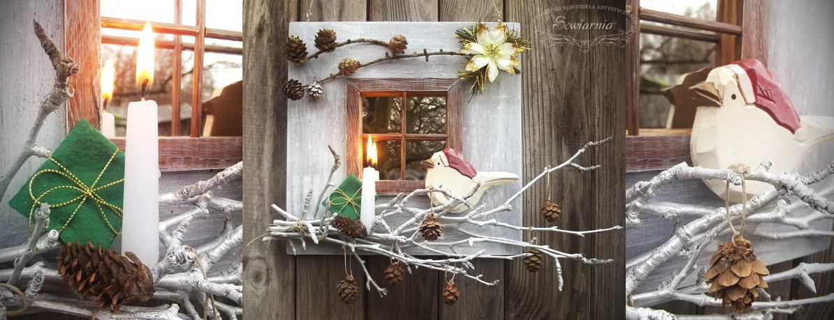 świąteczne okienko z lustra