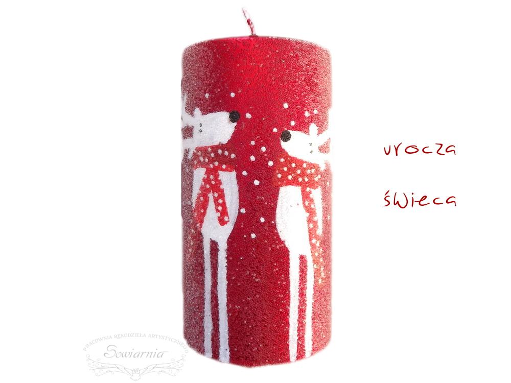 świąteczna świeca z reniferami