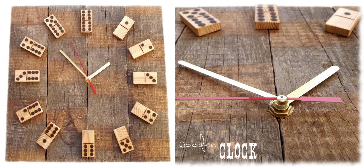 zegar domino ze starych desek