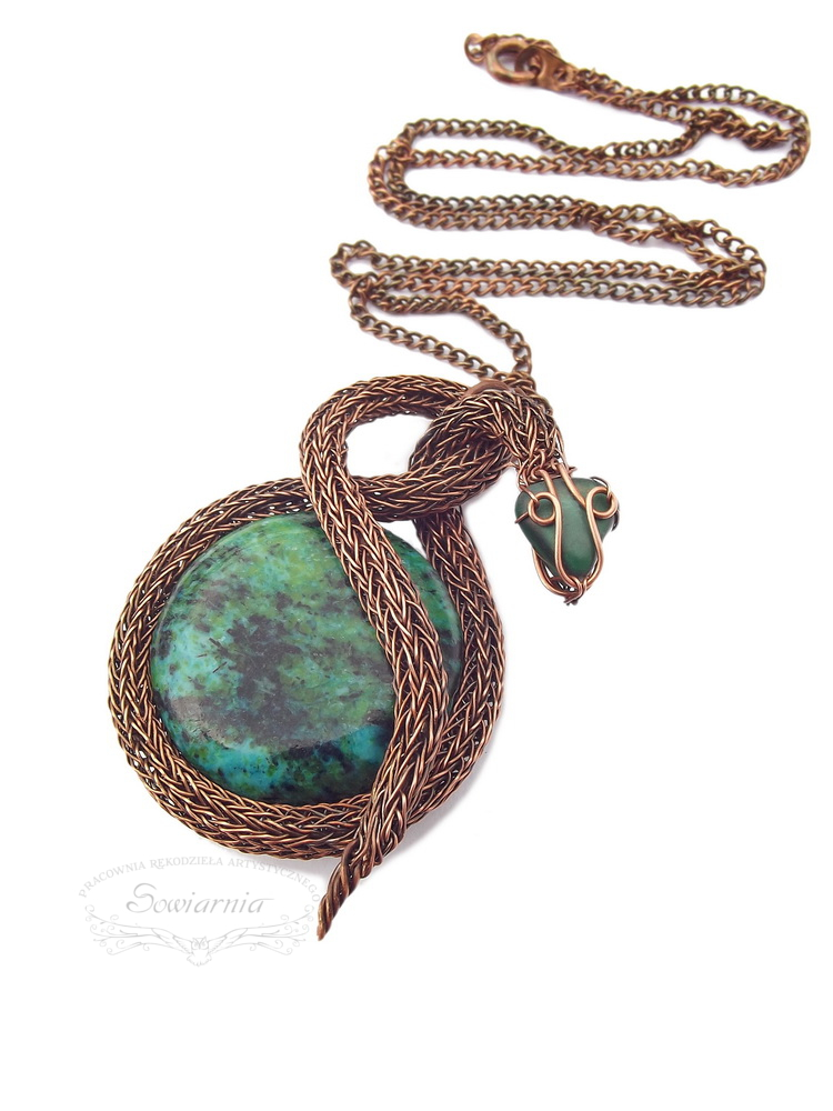 wire wrapping copper snake and chrysocolla