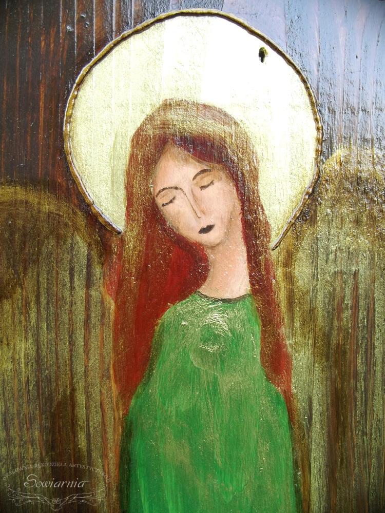 anioł na starej desce