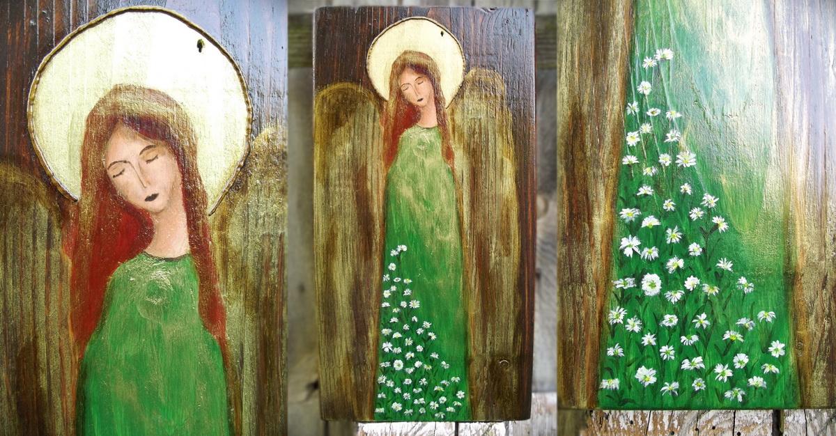 anioł ze stokrotkami
