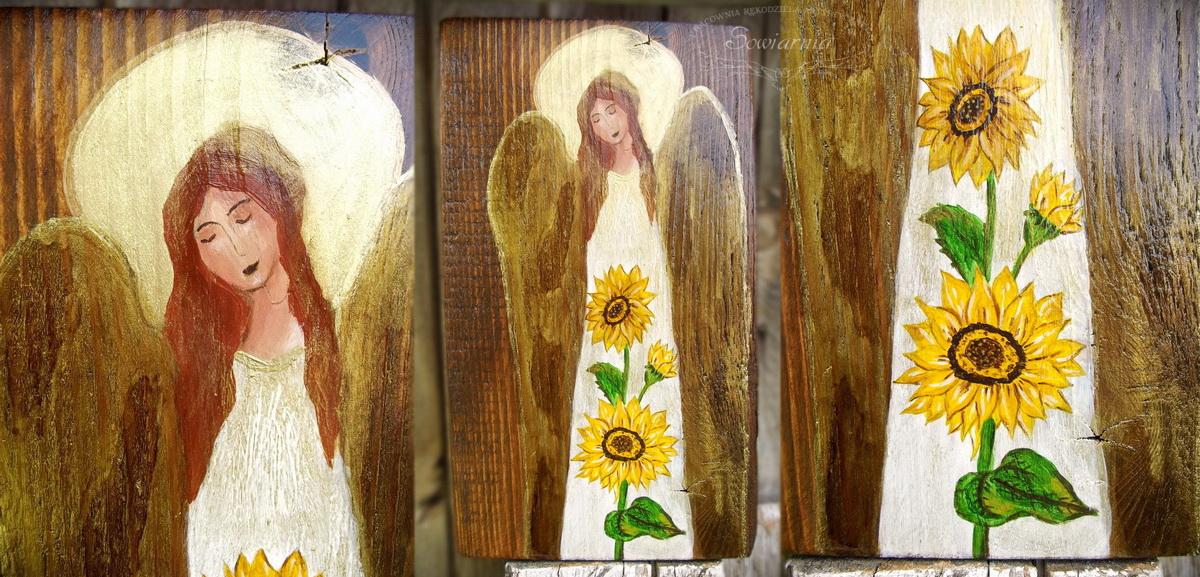 anioł i słoneczniki