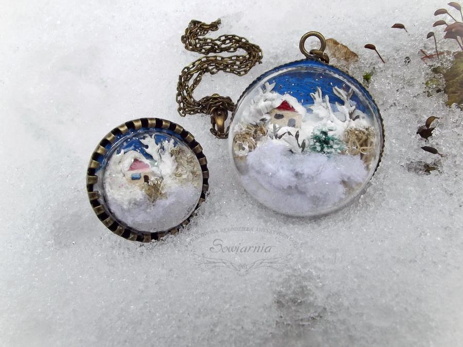 zimowy pierścionek i naszyjnik
