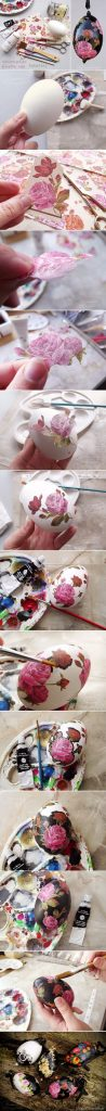 Black decoupage Easter egg tutorial