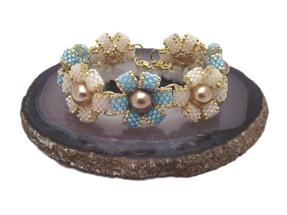 bransoletka koralikowe kwiatki