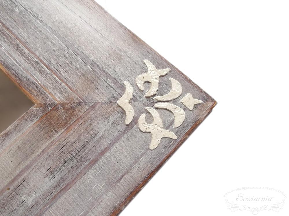 postarzane lustro z drewna