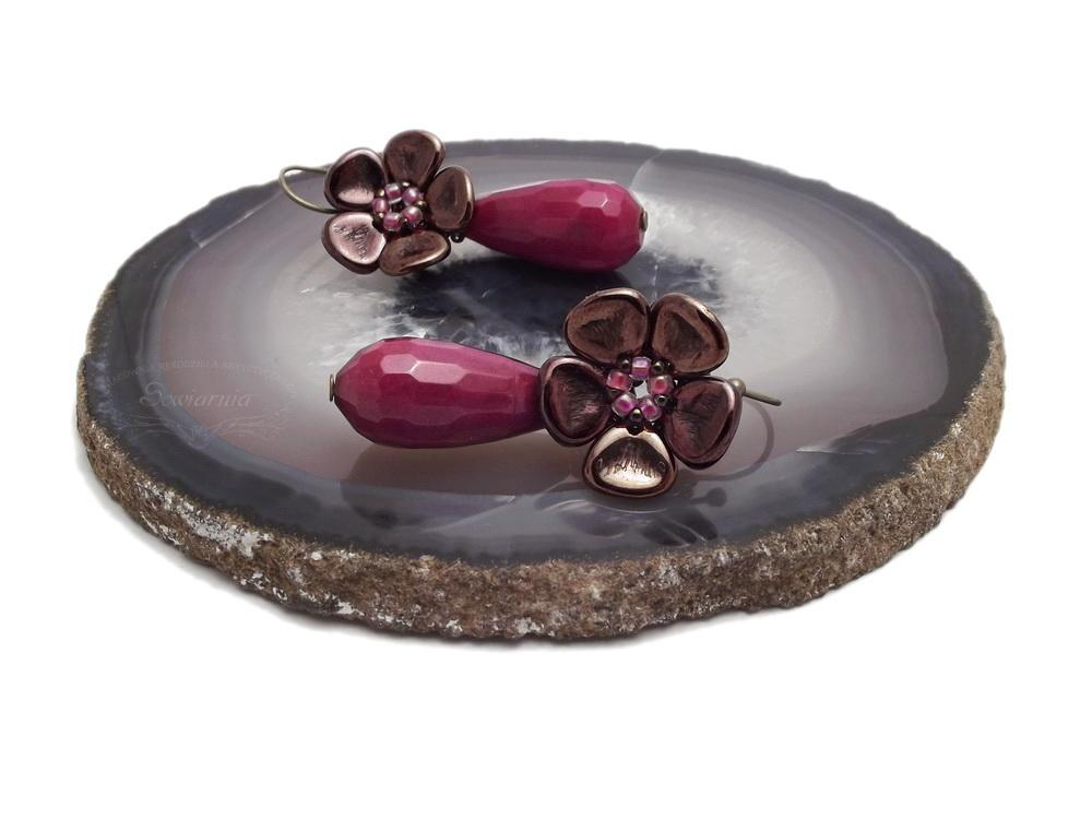 kolczyki kwiatuszki z jadeitem