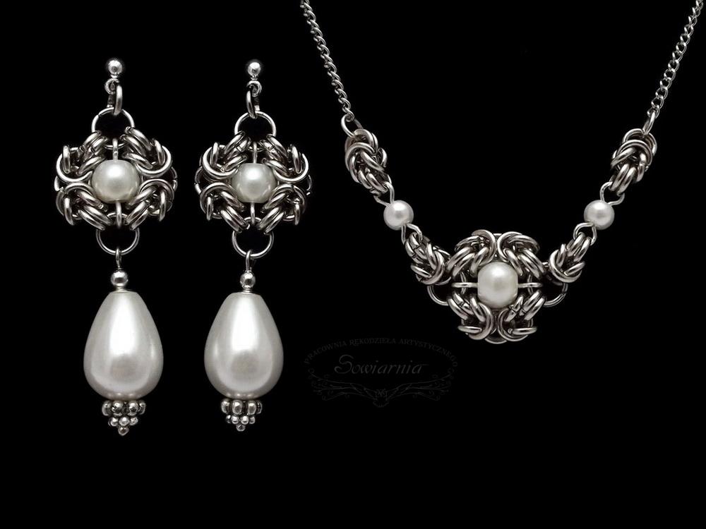 naszyjnik i kolczyki z perłami