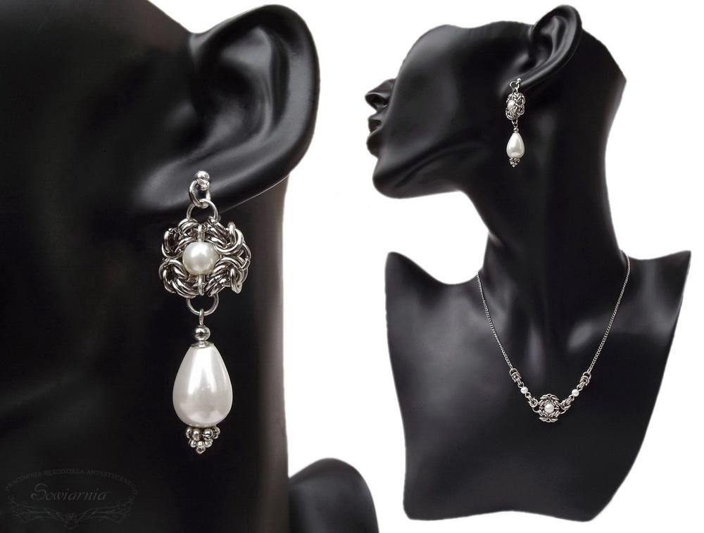 komplet biżuterii z perłami