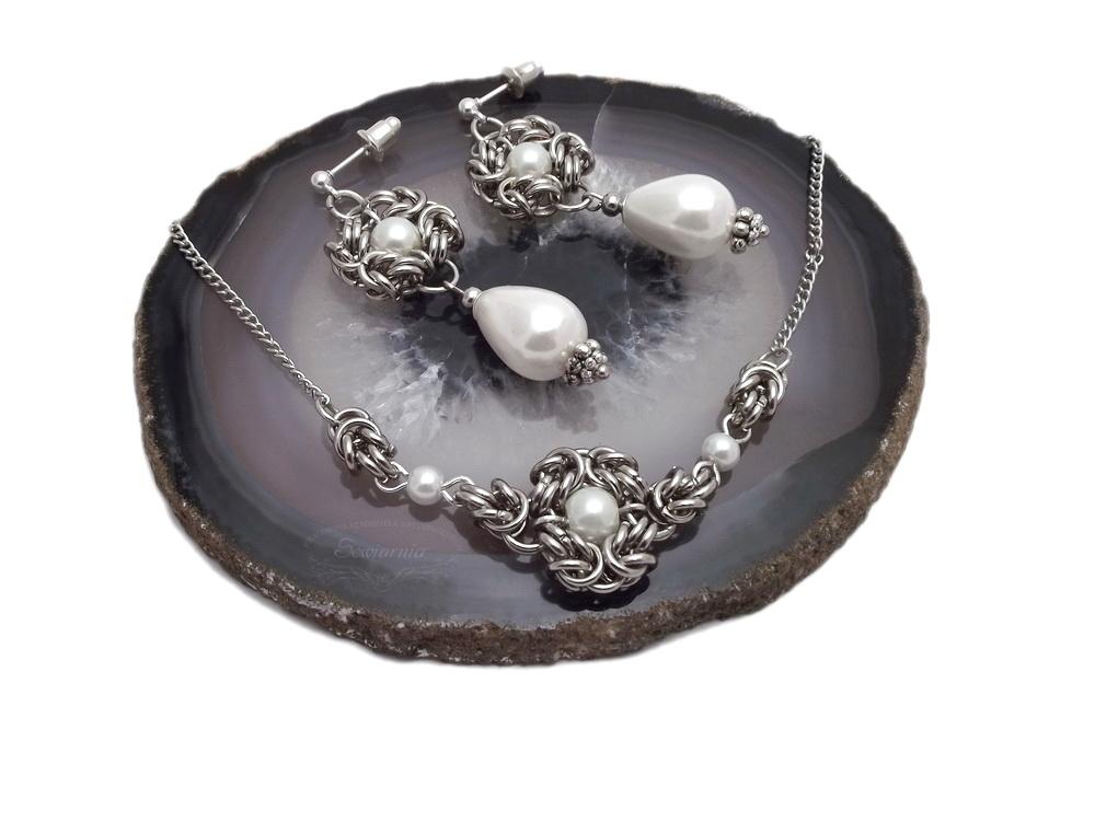 perły seashell i metalowe ogniwka