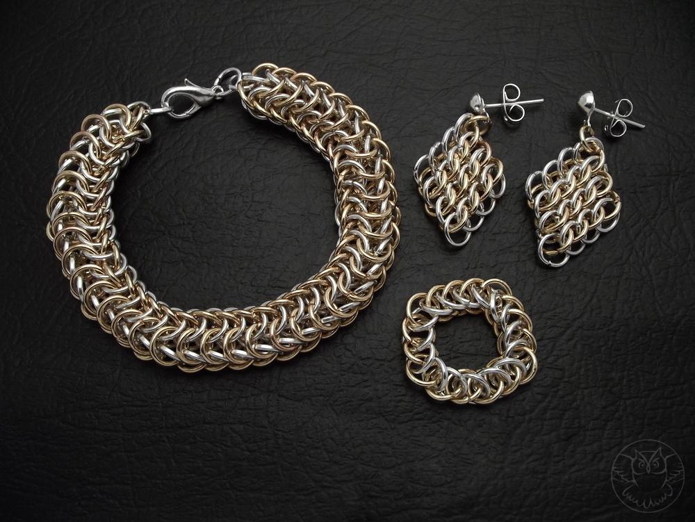 komplet chainmaille: bransoletka, kolczyki i pierścionek