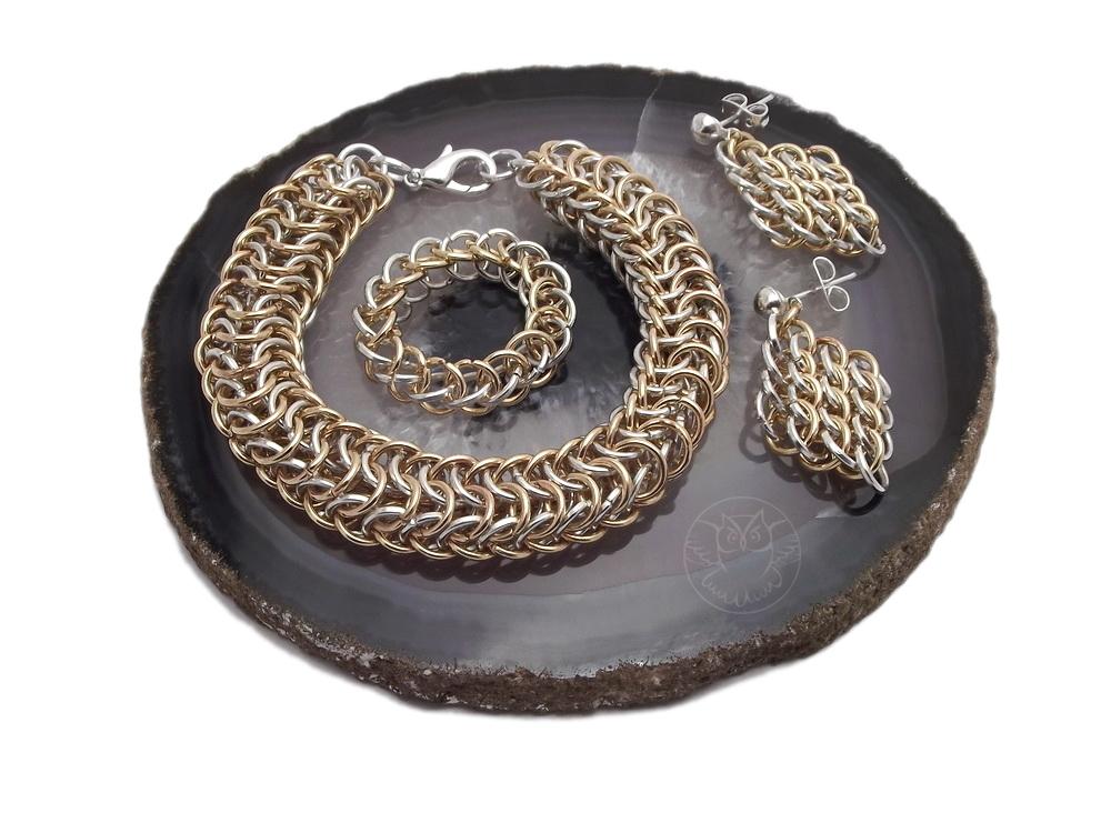 komplet chainmaille srebro ze złotem