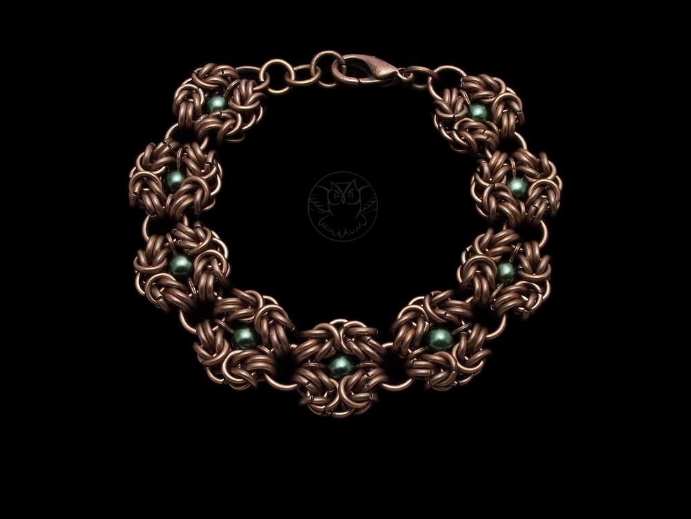 bransoletka chainmaille z perełkami