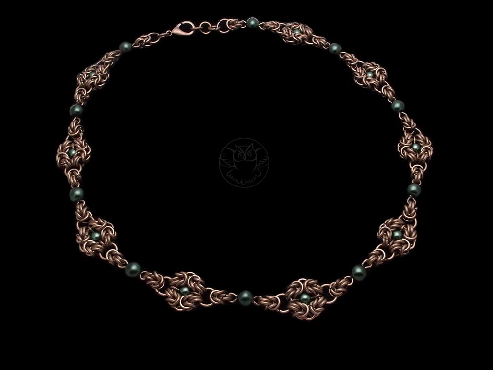 naszyjnik chainmaille z perłami