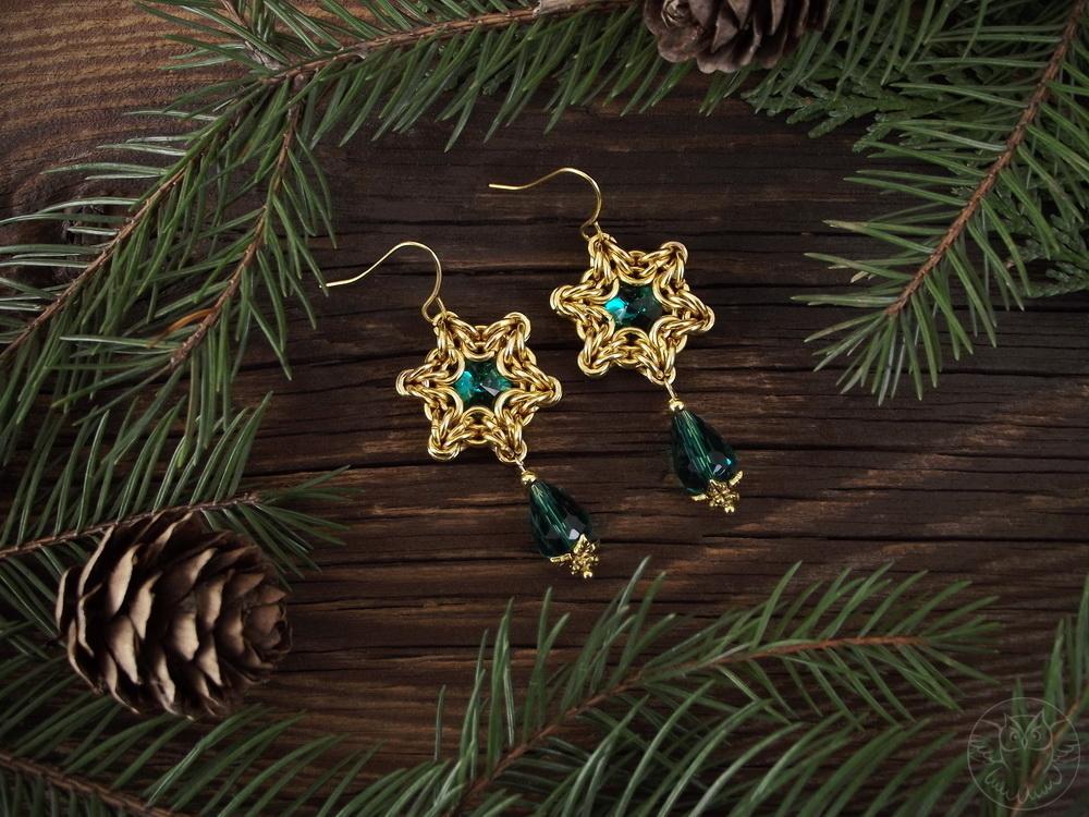 kolczyki świąteczne gwiazdki