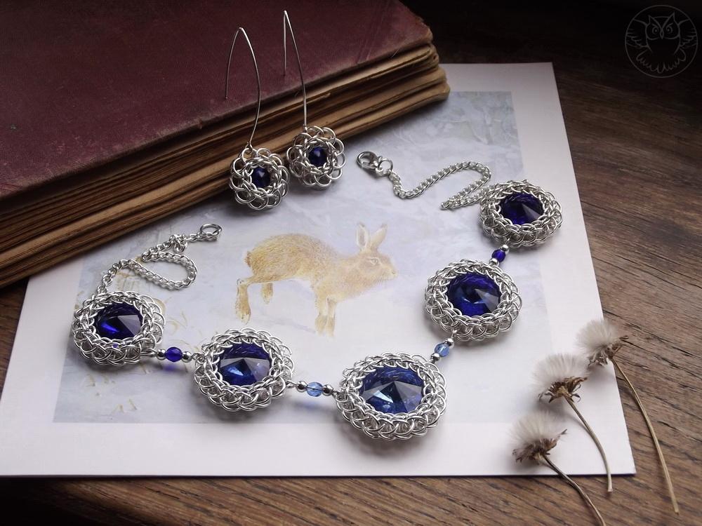 elegancki komplet z kryształkami rivoli