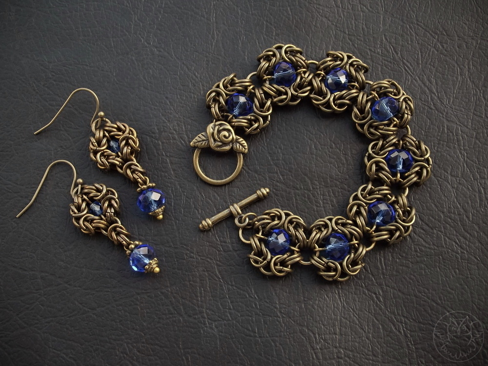 komplet chainmaille z kryształkami