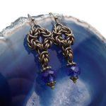 kolczyki chainmaille z kryształkami