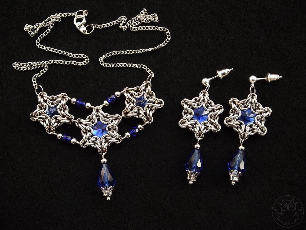 naszyjnik i kolczyki z kryształkami