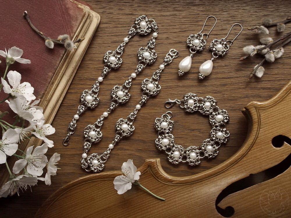 ślubny komplet z perłami