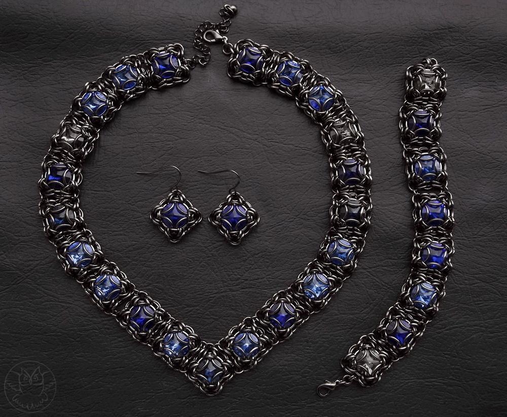szafirowy komplet z kryształkami rivoli