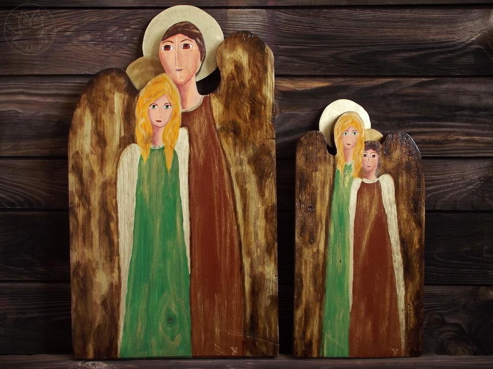 anioły podwójne ręcznie malowane
