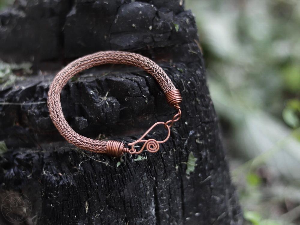 miedziana bransoletka viking knit
