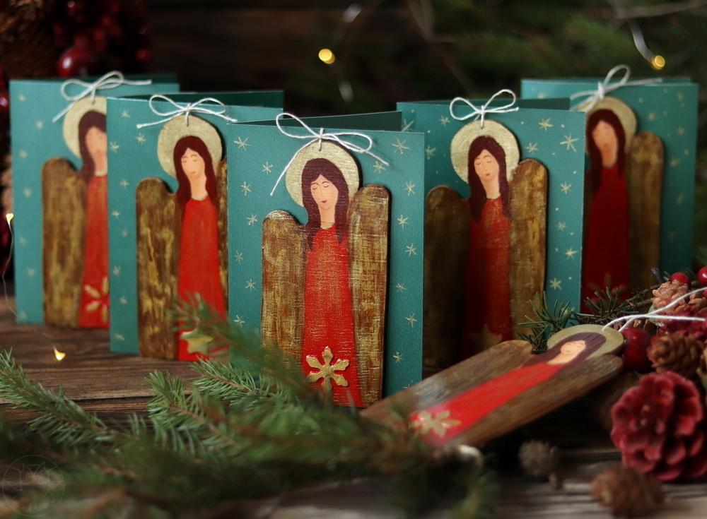 świąteczne kartki z aniołami