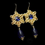 kolczyki gwiazdki szafirowo-złote
