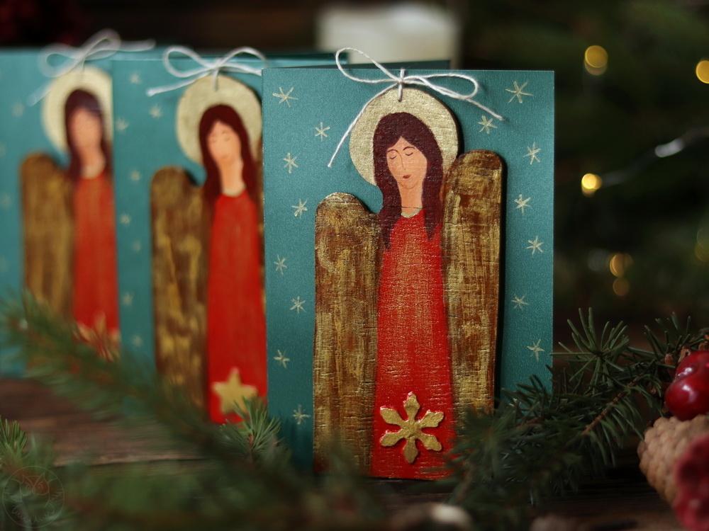 kartki z aniołami ręcznie malowane
