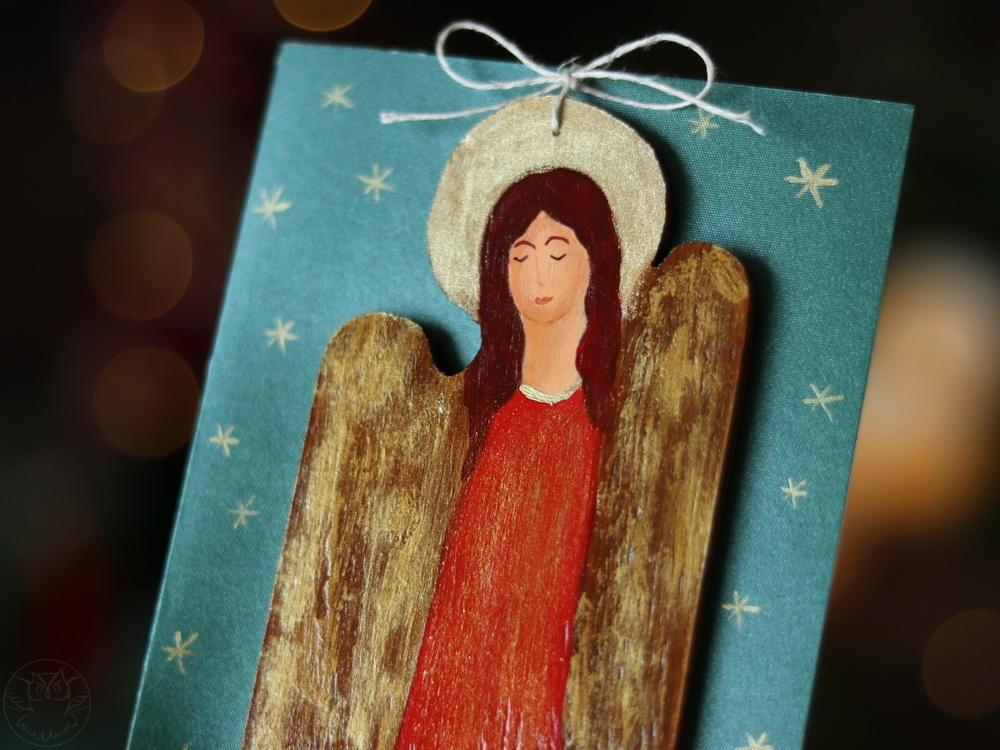 świąteczna kartka z aniołem