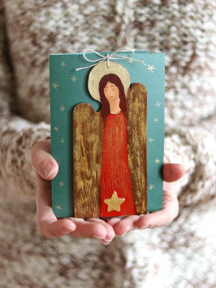 kartka z aniołkiem na Boże Narodzenie