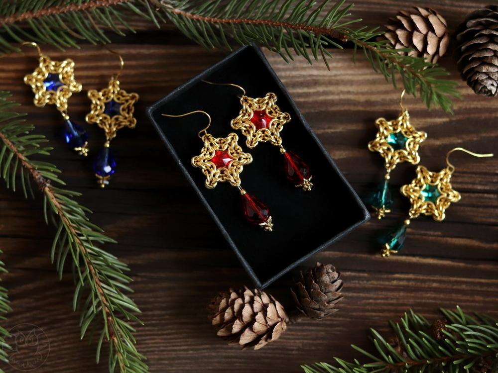 świąteczne kolczyki chainmaille