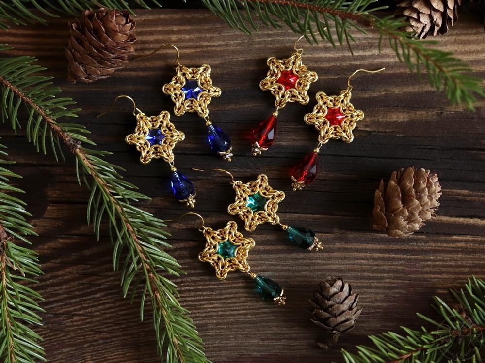kolczyki gwiazdki na święta