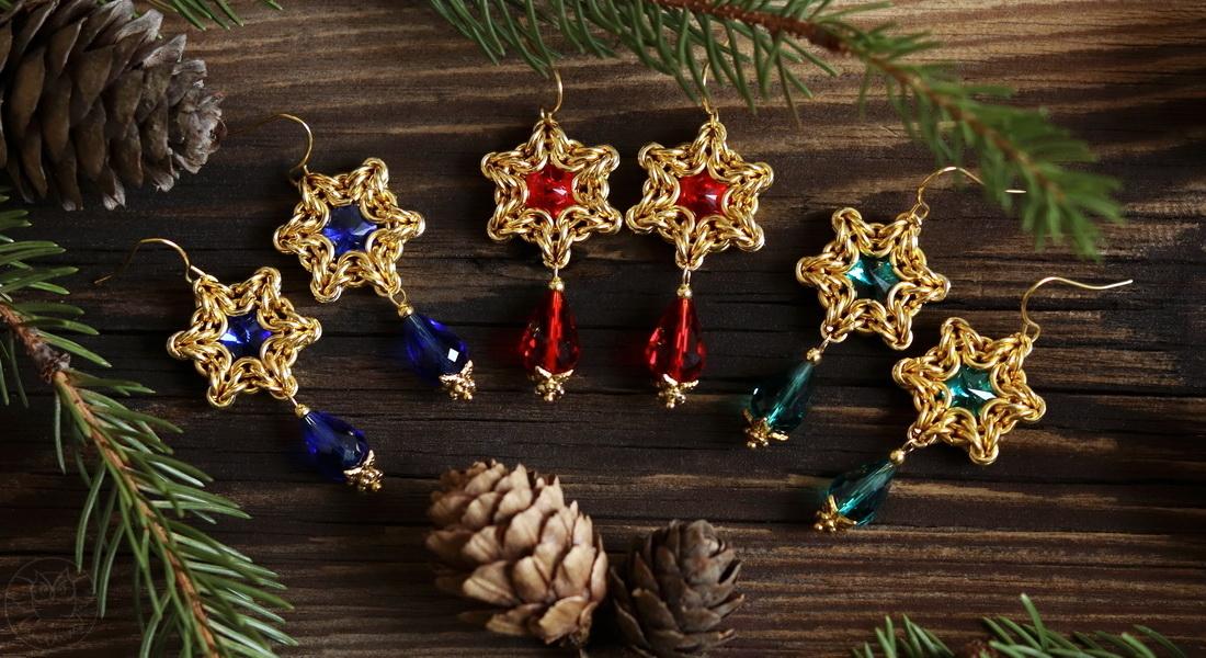świąteczne kolczyki gwiazdki
