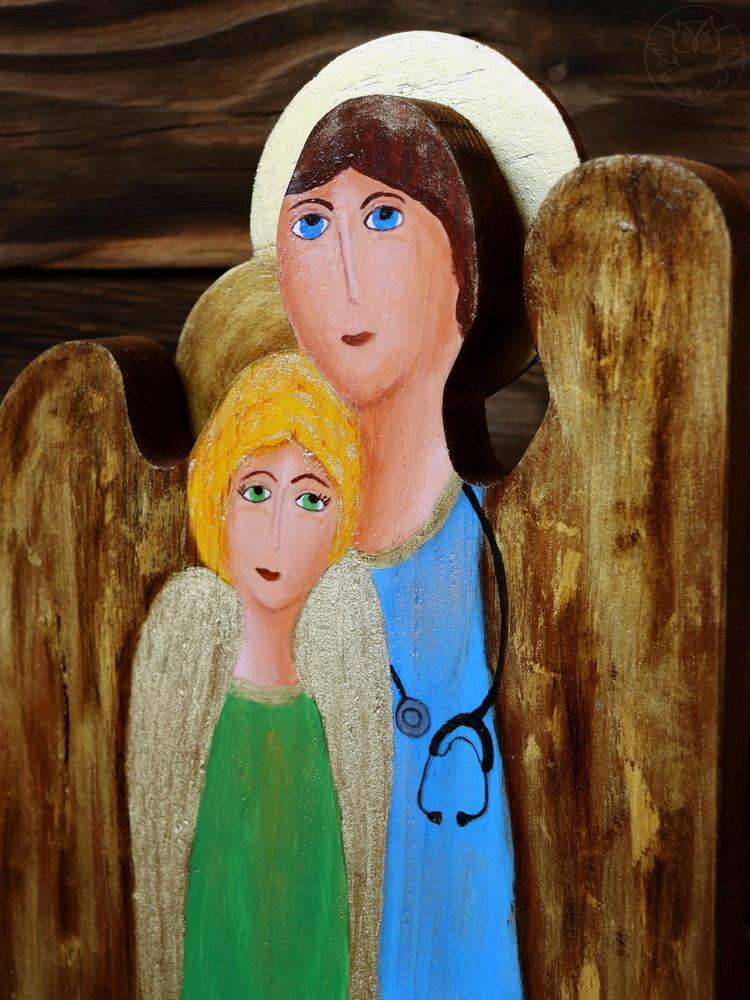 podwójny drewniany anioł