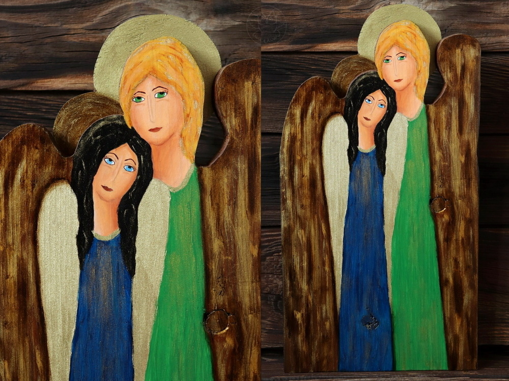siostrzany anioł z drewna
