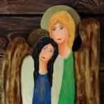 siostrzany anioł malowany na desce