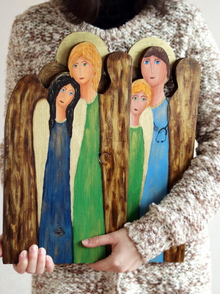 podwójne anioły ręcznie malowane