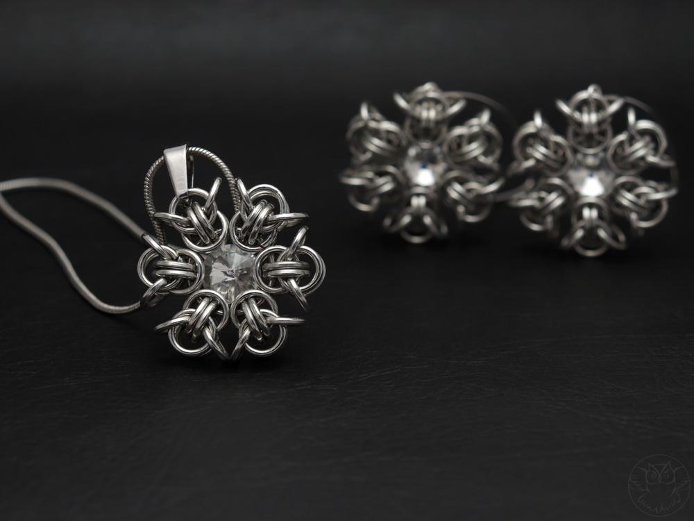 komplet biżuterii śnieżynki