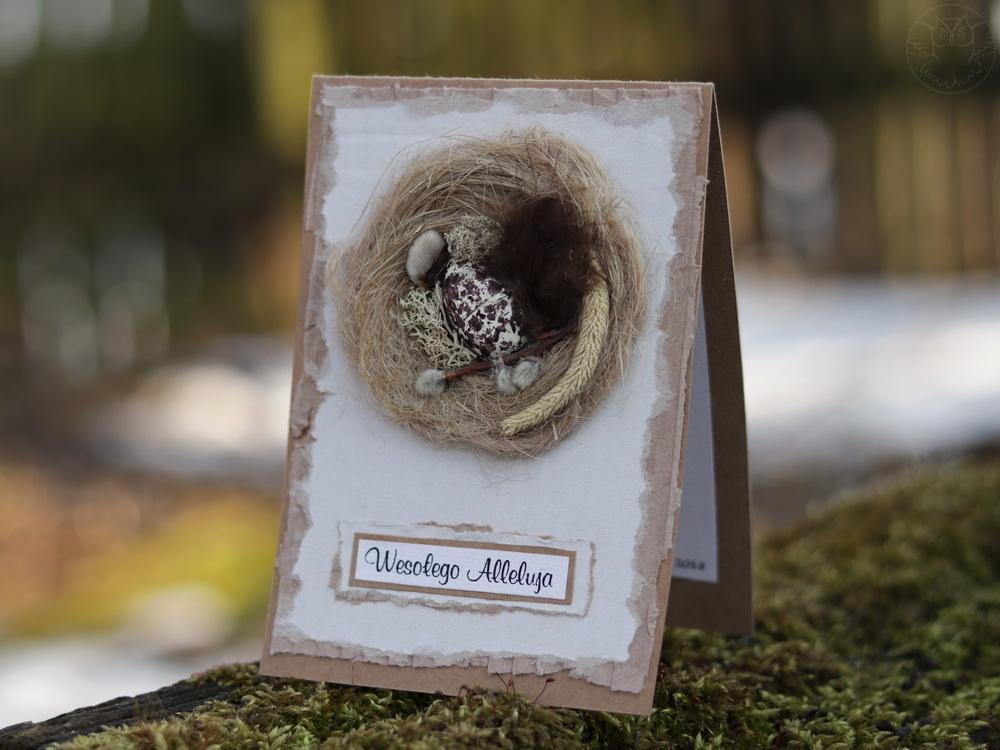 wielkanocna kartka z gniazdkiem