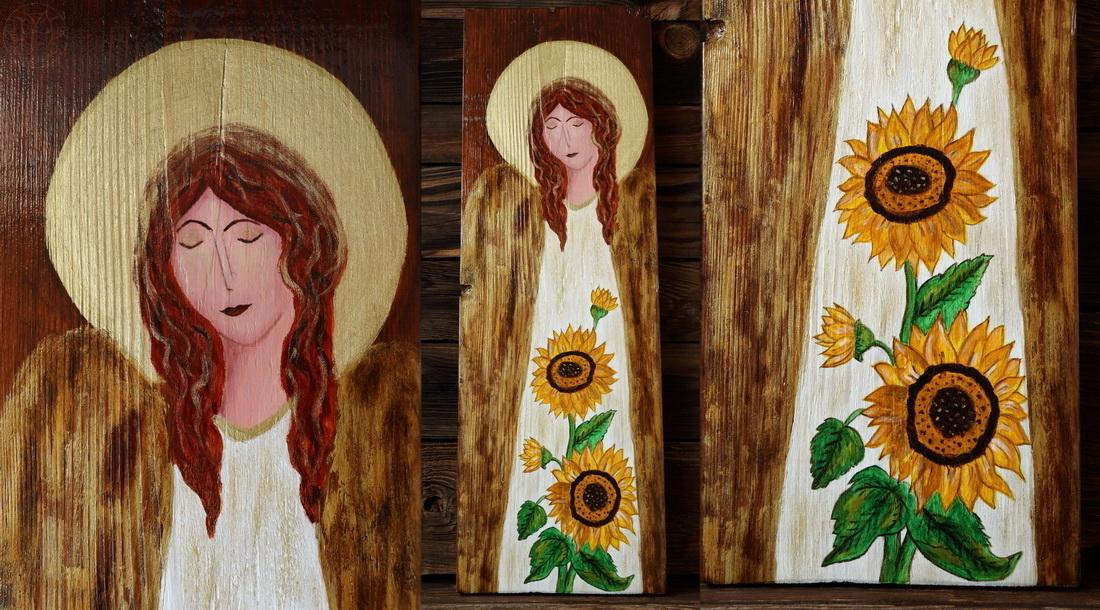 anioł ze słonecznikami