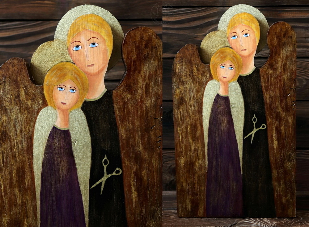 drewniany anioł dla fryzjera